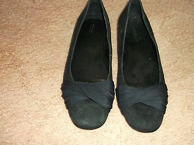 Marks & Spencers Ladies Black Suede Shoes Size 6