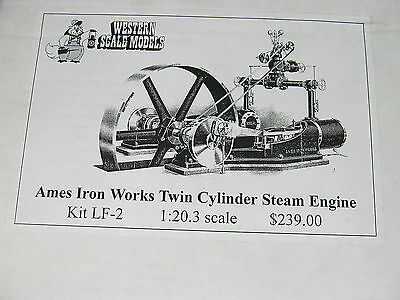 Western Scale Models Ames Iron Works Twin Cylinder Steam Engine LF-2 O Scale New