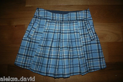 VGC NEXT 11 years girls BLUE CHECKED WOOL WINTER SKIRT *next day post!