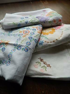 Bundle of 4 vintage large table cloths - linen with embroidery. #C