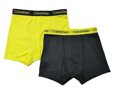 Calvin Klein Boys Yellow 2 Pack Athletic Boxer Briefs Size 6/7 8/10 12/14 16/18