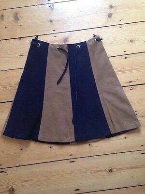 Vintage 1960s Soft SUEDE Leather Blue Brown Skirt / High waisted / Retro / Boho