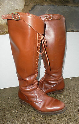 Amazing Vintage Riding Boots Uk 4 Tall Lace Up Tan Leather Quality Hide Exc Cond