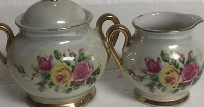 Vintage Cream and Sugar With Pink & Yellow Roses Gold Trim Opalescent