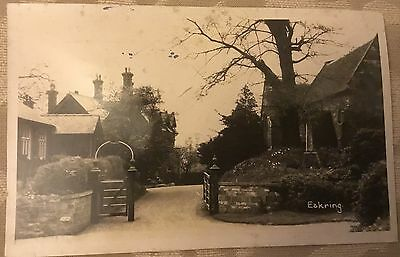 Eakring  Nottinghamshire Church gate and WW1 memorial post card used condition