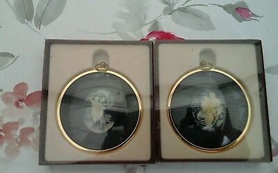 Vintage Miniature Boy and girl in Cameo and Nymphs in cameo - Peter Bates.