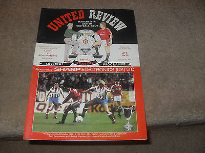Manchester United v Athltico Madrd 6/10/91 Cup Wnners Cup 2nd rnd 2nd lg