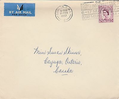 GB to Canada LONDON Queen Elizabeth 6d Wilding Second Class Airmail 1957
