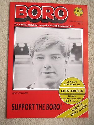 Middlesbrough V Chesterfield   1986/7