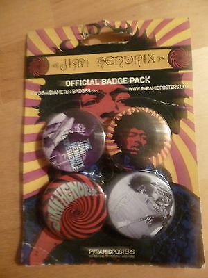 set of four jimi hendrix pin badges new on card