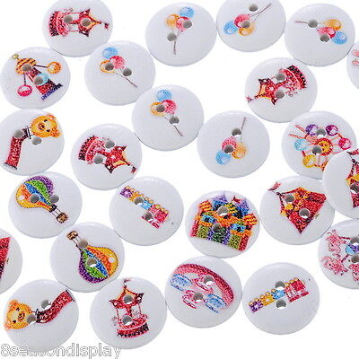 100pcs Mixed 2 Holes Wooden Playground Buttons Fit Sewing and Scrapbook 15mm