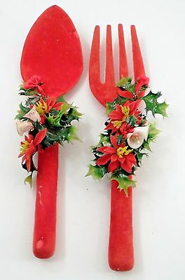 1960s Red Flocked Blow Mold Big Fork Spoon Wall Hangers w/ Christmas Holly Bells