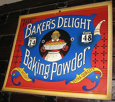 BAKERS DELIGHT BAKING POWDER SIGN BUTTER&EGGS PRICES NICE GRAPHICS CA 1970-80's
