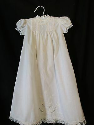 """Vintage White Christening Embroidered Infant Dress Baby w/Lace Trim """"CHERUBS"""""""