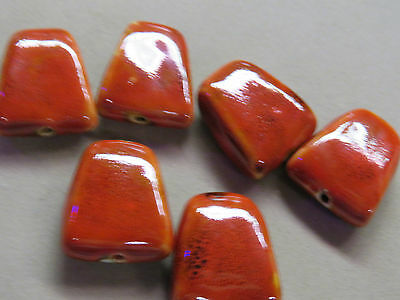 6 Red 32x28mm Porcelain Beads (S17L)