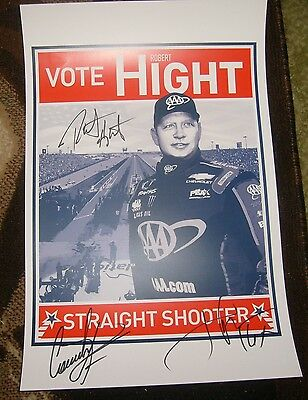 Autographed Robert Hight NHRA Poster 2016 John Force Courtney Force