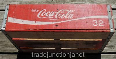 "ORIGINAL 1975 ""ENJOY COCA-COLA"" RED WOOD CRATE FOR 32 oz BOTTLES CHATTANOOGA TN"