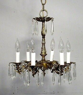 Antique Vintage Chandelier Bronze 6 Light Crystals Elegant Petite Fixture
