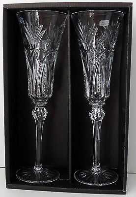 Stunning Pair Champagne Stemmed Glassware Cristal By D'arques-Durand Vincennes