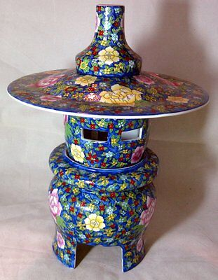 Large Chinese Famille Rose Porcelain Porcelain Pagoda Lantern Marked