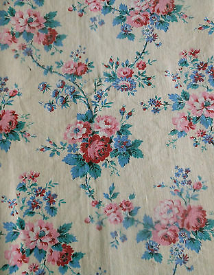 Vintage French Cottage Roses Cotton Fabric ~Pink Red Blue Turquoise Butter