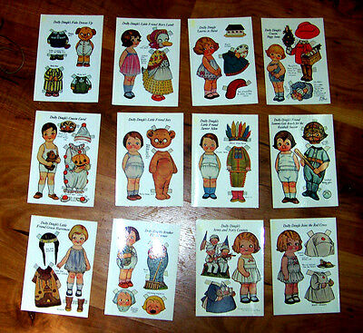 """Set of 12 DOLLY DINGLE Paper Doll Postcards from 1984 Doll & Outfit 4.25""""x6"""" New"""