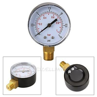 Low Pressure Gauge for Fuel Air Oil Gas Hydraulic 50mm 0/15 PSI 0/1 Bar 1/4 BSPT