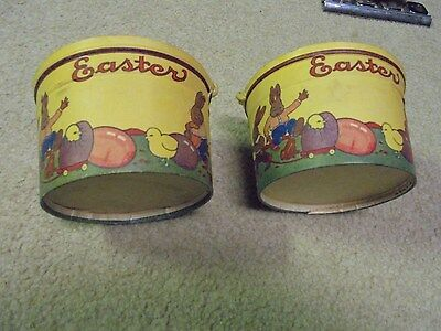 Vintage Two Rabbitt Easter Bunny Waxed Cardboard Baskets Two