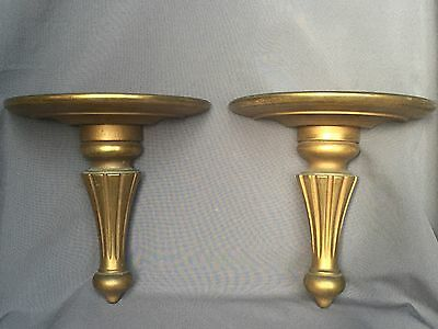 Lovely Pair Antique Gold Gilt Wood Wall Shelves Classical Corbels Sconces Shelf