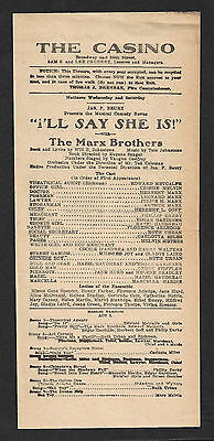 "Marx Brothers (Bros.) ""I'LL SAY SHE IS!"" Broadway Musical Debut 1924 Playbill"