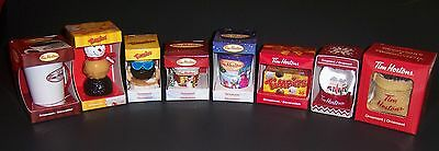 Set of 8 Tim Hortons Coffee CHRISTMAS HOLIDAY Ornaments ~  2016 New + Assorted
