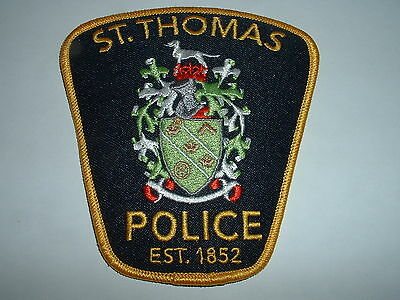 St. Thomas (type 3, gold) Police CLOTH SHOULDER PATCH Ontario Canada