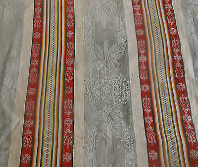Antique French Floral Stripe Medallion Cotton Ticking Fabric ~ Soft Gray Red #1