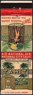 Vintage matchcover TAHITI Tommy Neary Wilbur Clark nude woman National City Cal