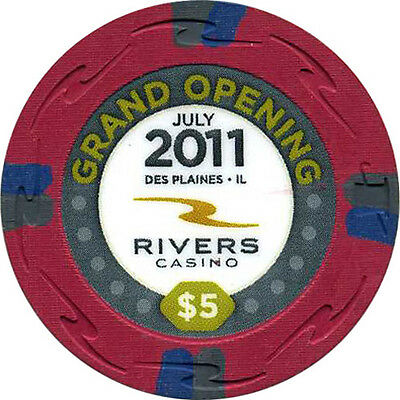 RIVERS $5 Casino Chip Des Plaines Illinois USA Grand Opening 2011