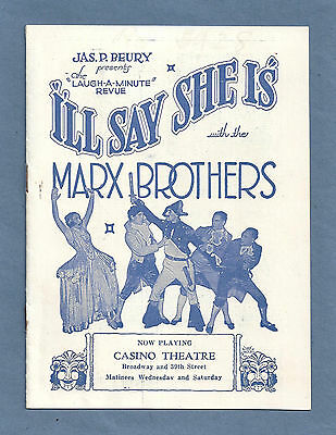 "Marx Brothers (Bros.) ""I'LL SAY SHE IS!"" Fay Bainter ""DREAM GIRL"" 1924 Herald"