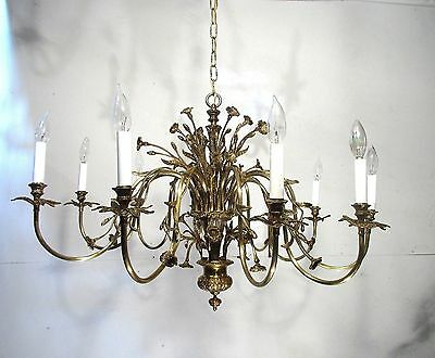 Antique Vintage Chandelier Bronze Flowers 10 Light Grand French restored Unique