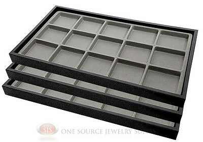 (3) Black Plastic Stackable Trays w/15 Compartment Gray Jewelry Display Inserts