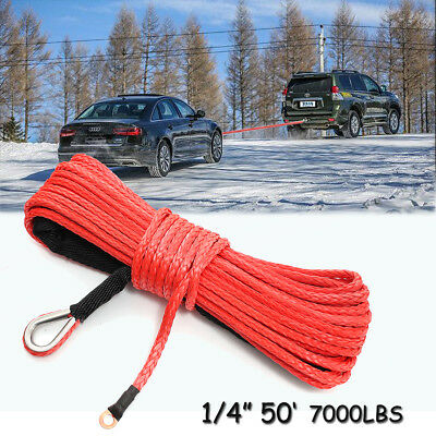 RED Synthetic Winch Rope Line Cable 1/4'' x 50' 7000 LB With Rock Guard For ATV