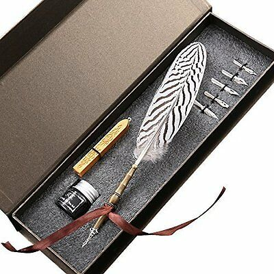 GC Artists's Drawing Calligraphy Feather Quill Dip Pen, 6 Nibs, Sealing Wax