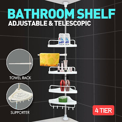 Telescopic Bathroom Kitchen Shelf Caddy Adjustable Wall Corner Shower Rack Bath