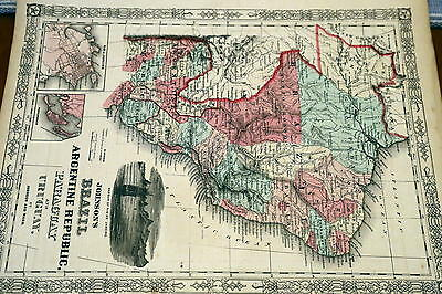 1864 Rare Johnson Beautiful Antique Atlas Map Of Brazil-Handcolored