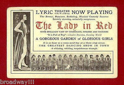 """Adele Rowland """"THE LADY IN RED"""" George Gershwin / Lyric Theatre 1919 Postcard"""