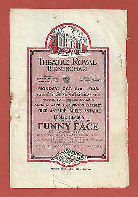 """George Gershwin """"FUNNY FACE"""" Fred and Adele Astaire 1928 Tryout Program"""