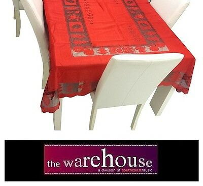 RED CHRISTMAS XMAS TABLE CLOTH 150x230cm 6-8 SEAT RECTANGLE POLYESTER TABLECLOTH