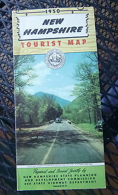 1950 New Hampshire  road  map Official state highway pictorial map
