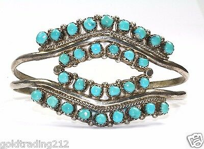 925 Sterling Native America Navajo Turquoise Two Line Open Cuff Bracelet Br 1243