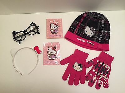 Hello Kitty accessories lot - hat, mittens, glasses, more