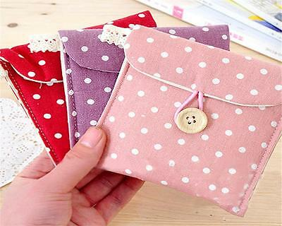 Lady Linen Sanitary Napkin Towel Pad Small Mini Bags Case Pouch Holder Chic Jc