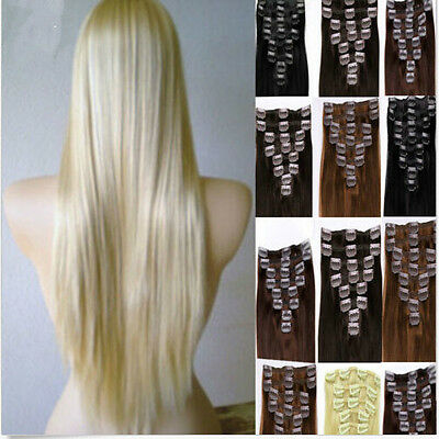 100% Real Human Hair Full Head Clip in Human Hair Extensions 20-24 inch